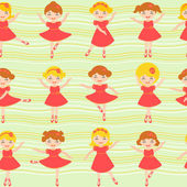 Little ballerinas seamless background — Stock Vector
