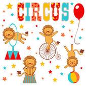 Renkli sirk aslanlar — Stok Vektör