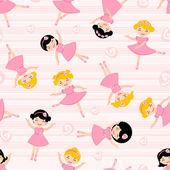 Cute ballerinas seamless pattern — Stock Vector