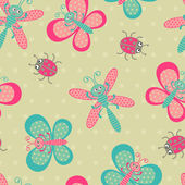 Cute bugs seamless background — Stok Vektör