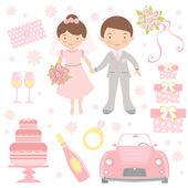 Cute wedding set — Stock Vector