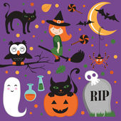 Cute Halloween set — Vector de stock