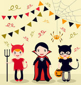 Halloween party kids — Stock Vector