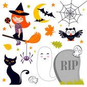 Set di felice halloween — Vettoriale Stock