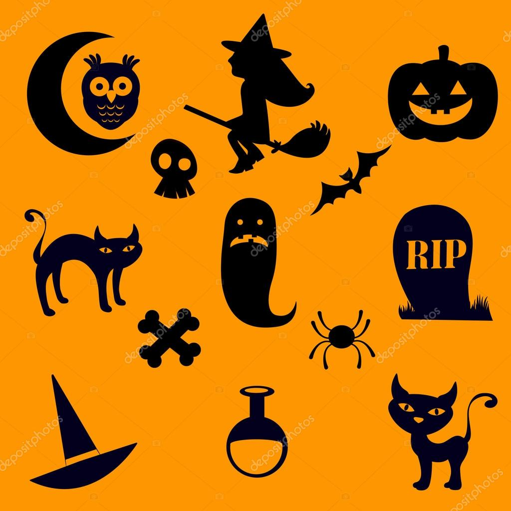 A Halloween silhouette icons collection — Stock Vector #12849817