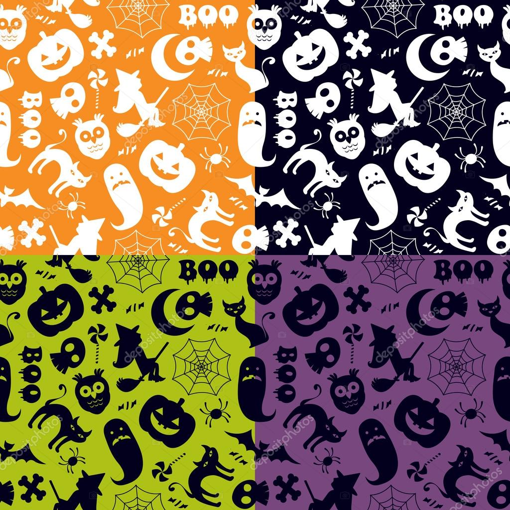 Halloween seamless pattern in four different color versions  Vektorgrafik #12849819