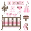 Stock Vector: Baby girl set