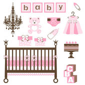 Baby girl set — Stock Vector