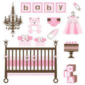 Baby girl set — Stock Vector