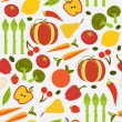 Colorful fruit and vegetables seamless background — Stock Vector