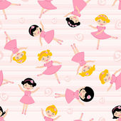 Cute ballerinas seamless pattern — Stock Vector
