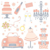 Cute bridal shower collection — Stock Vector