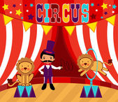 Tamer and lions circus performance — Stock Vector