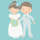Cute bride and groom — Vector de stock