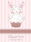 Bunny girl on cupcake announcement card — Stock Vector