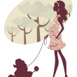 Beautiful pregnant lady walking with her poodle — Stock Vector #13266417