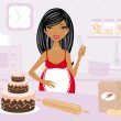 Stock Vector: Pregnant beauty cooking