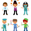 Royalty-Free Stock Vector Image: A cute set of kids dressed as professionals