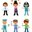 Stock Vector: Cute set of kids dressed as professionals