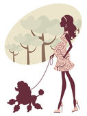 Beautiful pregnant lady walking with her poodle — Stock Vector