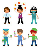 A cute set of kids dressed as professionals — Stock Vector