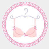 Bra with pink ribbon — Stock Vector