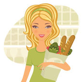 Young beautiful woman buying healthy food — Stock Vector