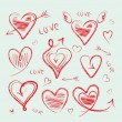 Hand drawn hearts collection — Stock Vector