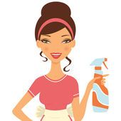 Beautiful woman cleaning with detergent spray — Stock Vector