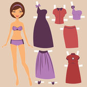 Beautiful paper doll with elegant clothing — Stock Vector