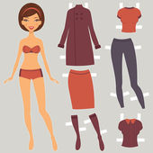 Beautiful paper doll with autumn wardrobe — Stock Vector