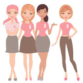 Four women wearing breast cancer wareness ribbon t-shirts — Stock Vector