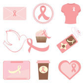 Breast cancer awareness icons — Stock Vector