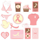 Breast cancer awareness items collection — Stock Vector
