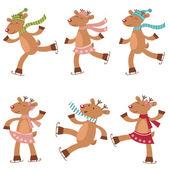 Cute set of ice skating deers — Stock Vector