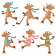 Cute ice skating deers set — Stock Vector