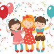 Happy little girls having a party — Stock Vector