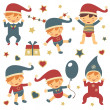 Vector de stock : Christmas babies set