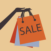 El satılık alışveriş torbaları tutarak — Stok Vektör