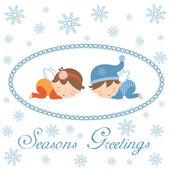 Seasons greetings card with sleeping angels — Stock Vector