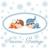 Seasons greetings card with sleeping angels — Stock Vector