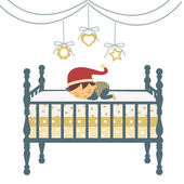 Little newborn boy in Santa`s hat sleeping — Stock Vector