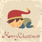 Cartão de Natal com dormir menino — Vetor de Stock