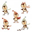 Stock Vector: Cute ice skating penguins collection