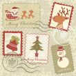 Retro style Christmas stamps - Stock Vector