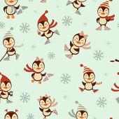 Patinaje sobre hielo pingüinos de patrones sin fisuras — Vector de stock