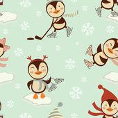 Graciosos pingüinos patinando en el patrón de hielo — Vector de stock