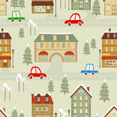 Christmas city pattern — Stock Vector