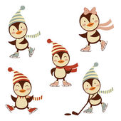 Cute ice skating penguins collection — Stock Vector
