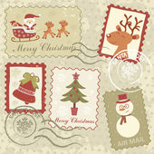 Retro style Christmas stamps — Stock Vector